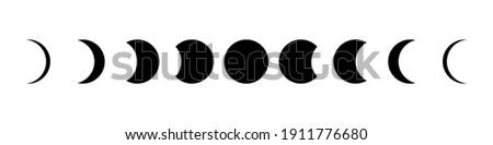 Moon phases flat icon illustration isolated on white background. Photo stock ©