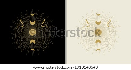 Moon phases hold by hand with rays. Abstract engraving illustration with esoteric, boho, spiritual, geometric, astrology, magic themes, for tarot reader, card or posters Stockfoto ©