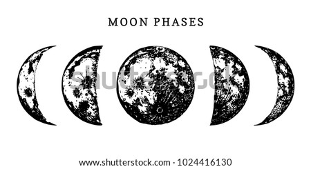 Moon phases image on white background. Hand drawn vector illustration of cycle from new to full moon.