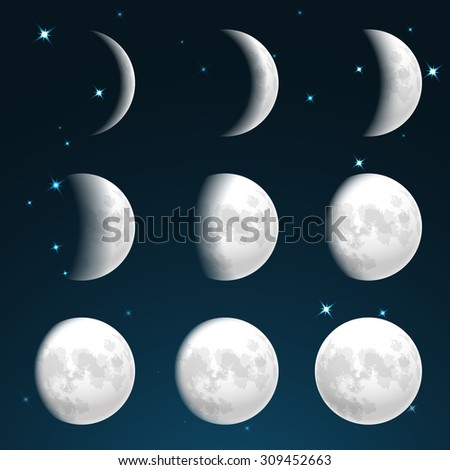 moon phases in starry sky