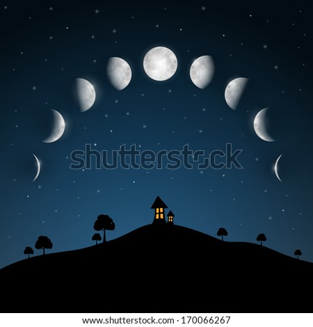 moon phases night landscape