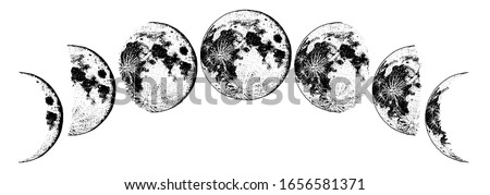 Moon phases planets in solar system. Astrology or astronomical galaxy space. Orbit or circle. Engraved hand drawn in old sketch, vintage style for label.