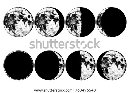 moon phases planets in solar...
