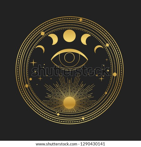 Moon phases, seeing eye, Sun and stars in round frame. Vector illustration