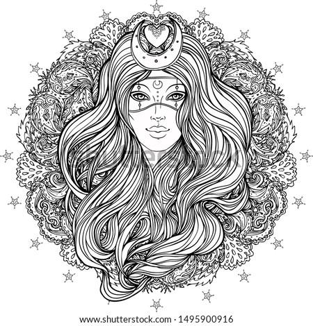 Moon princess. Tribal Fusion Boho Diva. Beautiful divine girl with crescent tiara and venetian mask. Bohemian goddess. Hand drawn elegant illustration.
