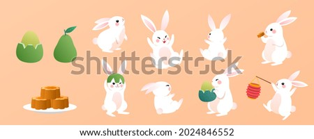 Moon rabbits and holiday foods. Flat illustrations of cute jade rabbits of Chinese legend with traditional desserts for Mooncake Festival