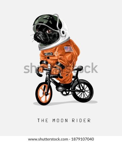 moon rider slogan with cartoon black dog in astronaut uniform riding bicycle illustration Stockfoto ©