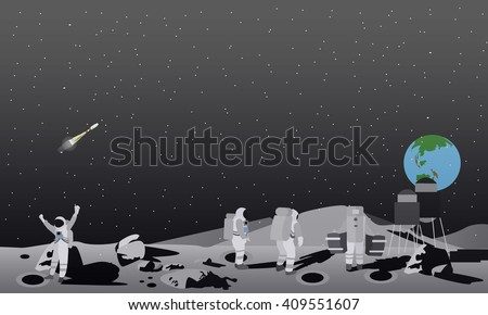 moon space station vector