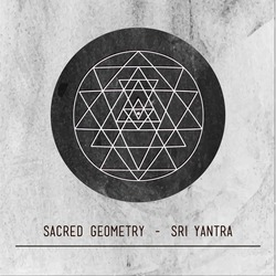 Moon. Sri Yantra - symbol of Hindu tantra formed by nine interlocking triangles that radiate out from the central point. Sacred geometry. Vintage grey paper background.