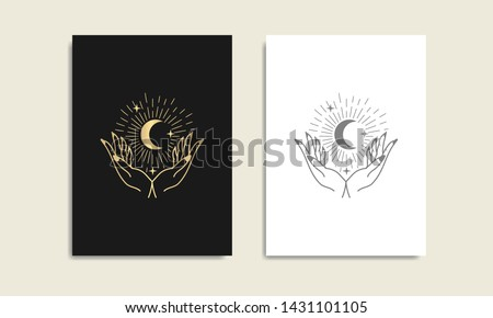 Moon, star and hand gold logo, spiritual guidance tarot reader Colorful gradient design. illustration.