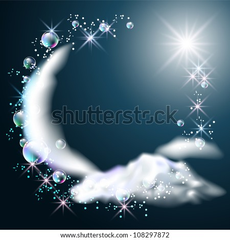 moon  stars and clouds in the