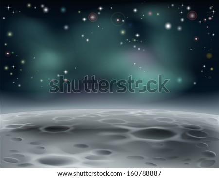 Cartoon Moon Surface Moon Surface or Alien Word in