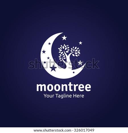 moon tree logo vector logo