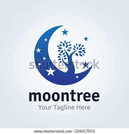 moon tree logo vector logo