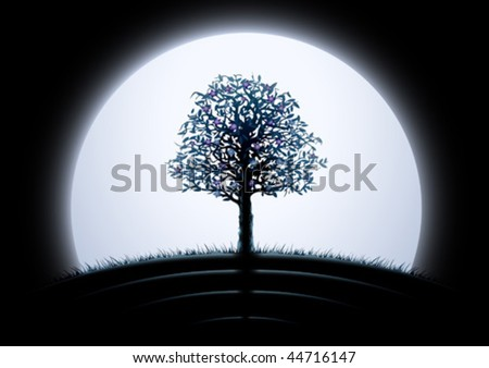 Moon tree silhouette against black background