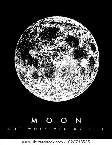 moon vector dotwork