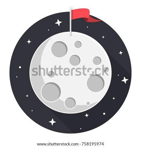 moon with flag and stars flat