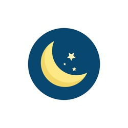moon with stars colorful flat icon with long shadow. night flat icon