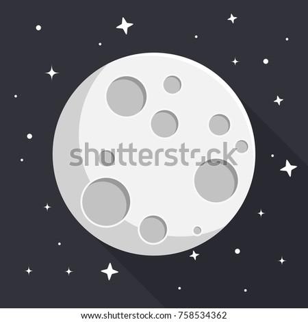 moon with stars flat design icon