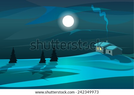 moonlight scene with trees and