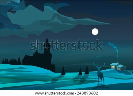 moonlight scene with trees