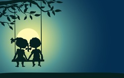 Moonlight silhouettes of a boy and a girl sitting on a swing