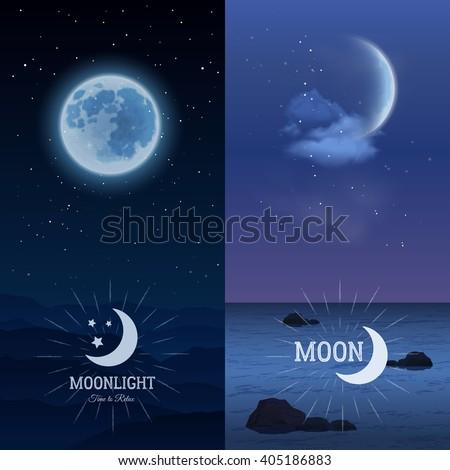 moonlight vertical banner set
