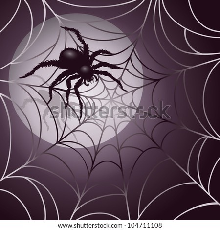 Moonlit Spider and Web Halloween background design . AI 10 .eps contains radial gradients and transparency. - stock vector