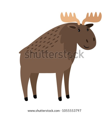 Moose. Cute vector elk with large horns on white, single antlered moose vector illustration