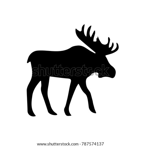Moose Elk Silhouette Illustration. Vector.