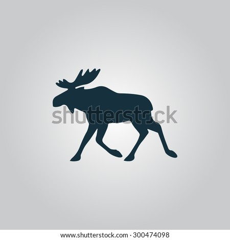 Moose. Flat web icon or sign isolated on grey background. Collection modern trend concept design style vector illustration symbol