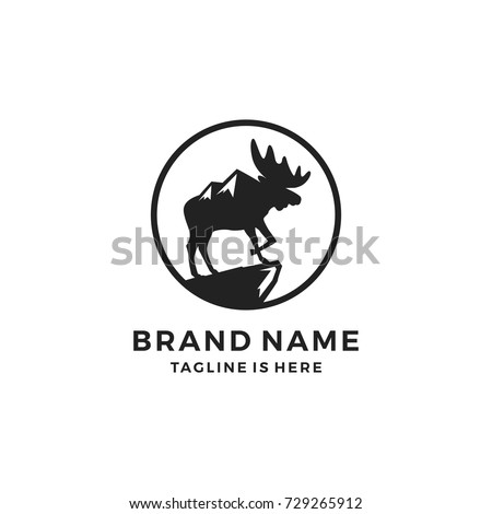 moose pride mount logo template vector icon illustration