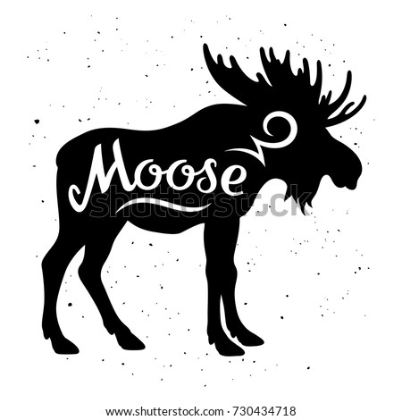 Moose silhouette with a calligraphic inscription