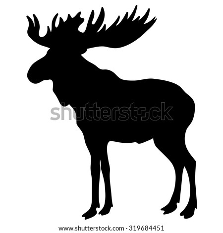Moose vector silhouette isolated on white background
