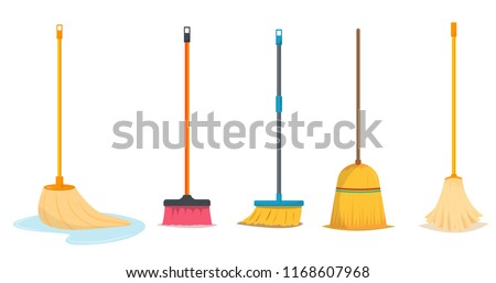 Mop and broom for cleaning  Stock foto ©