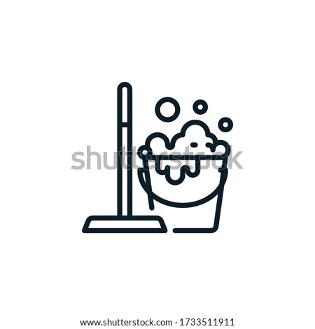 Mop and bucket, cleaning outline icons. Vector illustration. Editable stroke. Isolated icon suitable for web, infographics, interface and apps. Stock foto ©