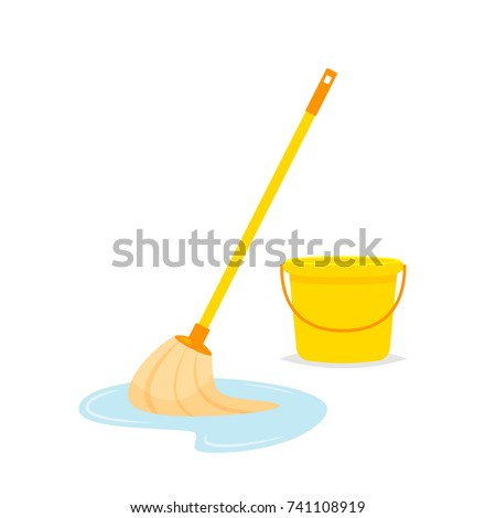 Mop and bucket vector isolated illustration Stock foto ©