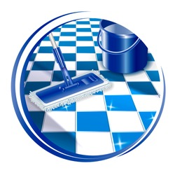 Mop cleaning dirty tiled floor to shiny icon. Insoled on white background. Vector illustration.
