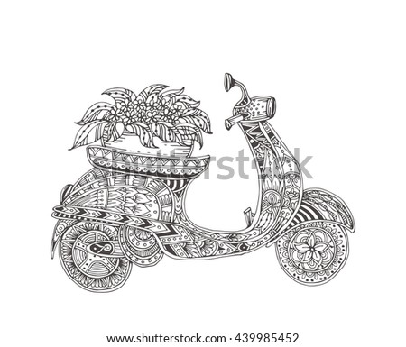 moped hand drawn scooter with ethnic floral doodle pattern coloring page zendala