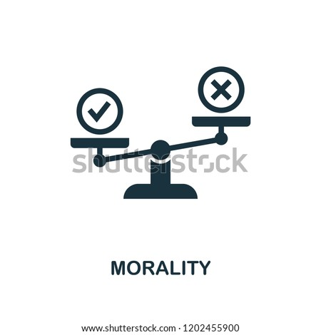 Morality icon. Monochrome style design from business ethics collection. UX and UI. Pixel perfect morality icon. For web design, apps, software, printing usage. ストックフォト ©