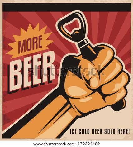 more beer  retro vector design...