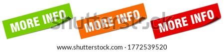 more info sticker. more info square isolated sign. more info label Stock photo ©