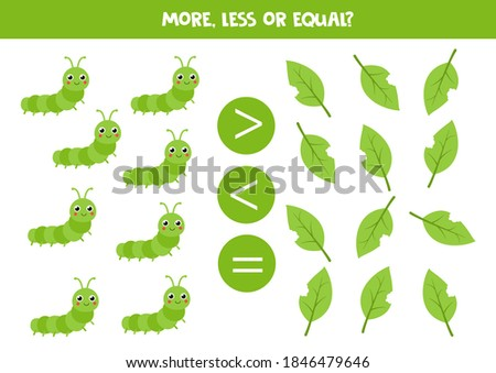 More, less or equal with cute caterpillar and leaves. Educational math game for kids. Foto d'archivio ©