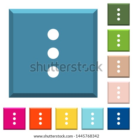 More options white icons on edged square buttons in various trendy colors