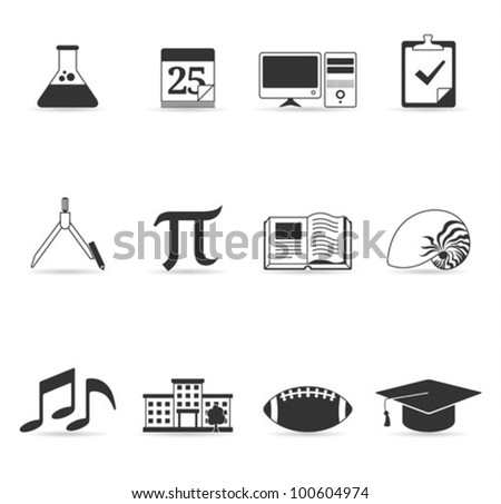 More school icon set in single color. Transparent shadows placed on layer beneath. - stock vector