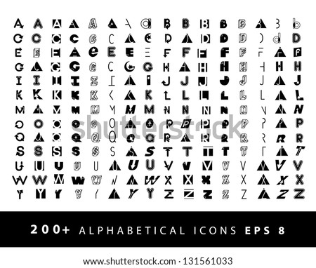 More than 200 alphabetical icons symbol alphabet A through Z. EPS 8 vector, grouped for easy editing. No open shapes or paths. Stok fotoğraf ©