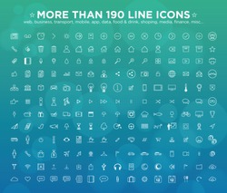 More than 190 line icons: web, business, transport, mobile, app, game, finance, misc...