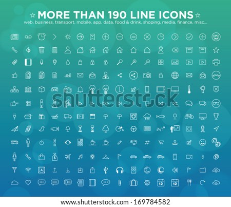 more than 190 line icons  web