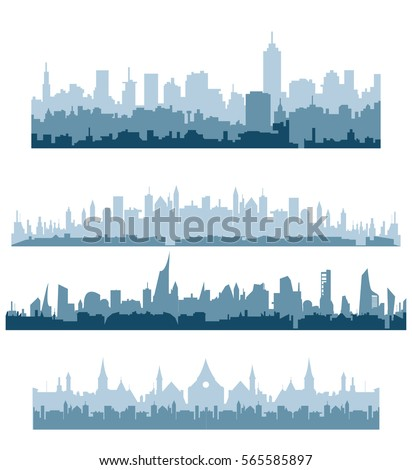 morning cityscape silhouette