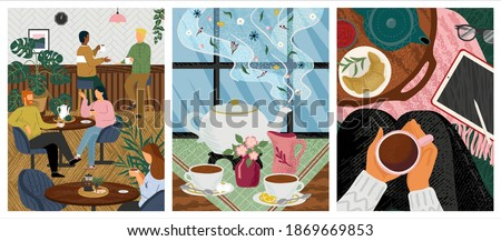 Morning coffee in cafe concept vector illustration. People at a table in a restaurant drink tea. Friends meeting for breakfast. Woman sit on a floor and drink hot tea. Table with tea pot and cups